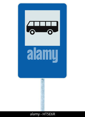 Bus Stop Sign on post pole, traffic road roadsign, blue isolated signage copyspace - Stock Photo