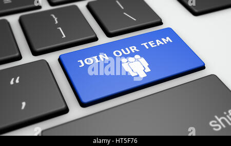 Join our team sign and icon on a computer keyboard online business recruitment concept 3D illustration. - Stock Photo