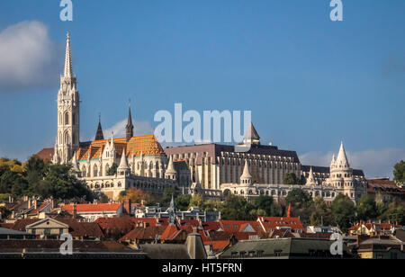 View of Buda side of Budapest with Mathias Church and Fisherman's Bastion - Budapest, Hungary - Stock Photo