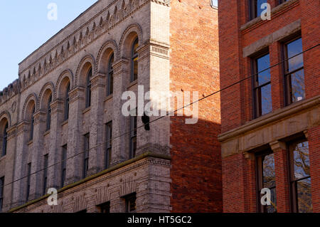 Crow perched on a wire in front of Victorian era buildings in the historical Pioneer Square district of Seattle, - Stock Photo