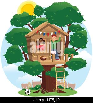 An illustration of two kids playing in a tree house. - Stock Photo