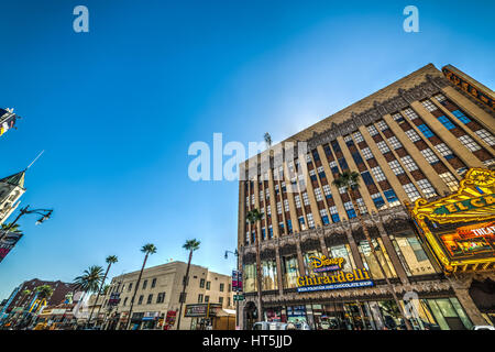 Los Angeles, CA, USA - November 02, 2016: Hollywood boulevard on a clear day - Stock Photo