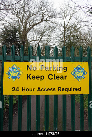 no parking, keep clear sign belonging to ham and petersham rifle and pistol club, in ham, surrey, england - Stock Photo