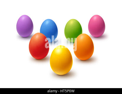 Rainbow colored Easter eggs isolated on white - Stock Photo