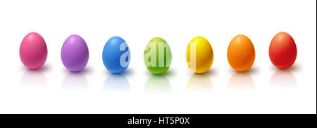 Rainbow colored Easter eggs aligned, isolated on white - Stock Photo