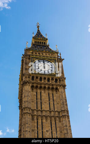 Big Ben caught at precisely midday, Westminster, London, UK - Stock Photo