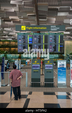 16.01.2017, Singapore, Republic of Singapore, Asia - A view of the departure hall of Terminal 3 at Singapore's Changi - Stock Photo