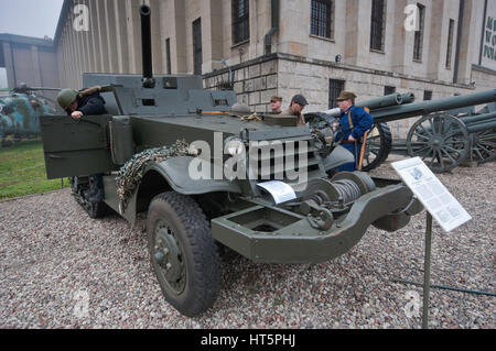American-made T-48 self-propelled gun/tank destroyer, based on M3 half-track, used in Poland as SU-57, Polish Army - Stock Photo