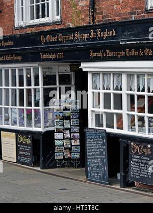 Ye Oldest Chymist Shoppe In England. Market Place, Knaresborough, North Yorkshire, England, United Kingdom, Europe. - Stock Photo