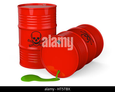 Spilled red barrels with toxic waste isolated on white background 3D rendering - Stock Photo