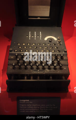 WWII German military Enigma machine display in International Spy Museum.Washington D.C.USA - Stock Photo