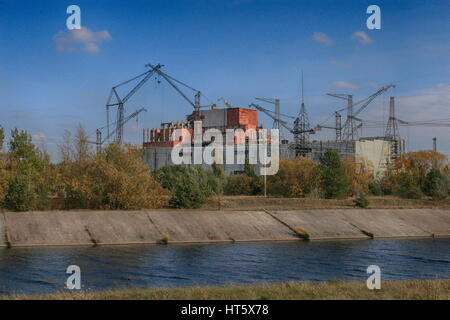exploded reactor 4 from Chernobyl power plant - Stock Photo
