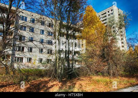 Pripyat – abandoned building taken over by vegetation after Chernobyl disaster - Stock Photo