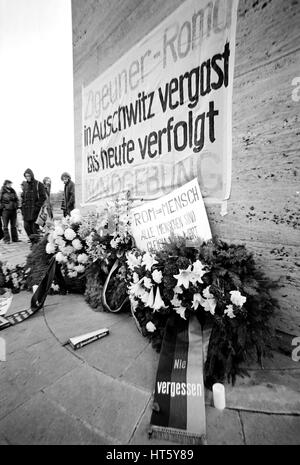 Bergen-Belsen, Germany, 27.10.1979 - Memorial event to the persecution of Sinti and Roma in the Third Reich in the - Stock Photo