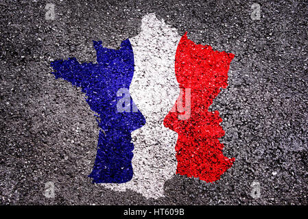 French presidential elections concept, map of France with 2 faces - Stock Photo