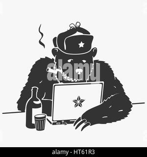Russian Hacker Vector Character Cartoon - Stock Photo