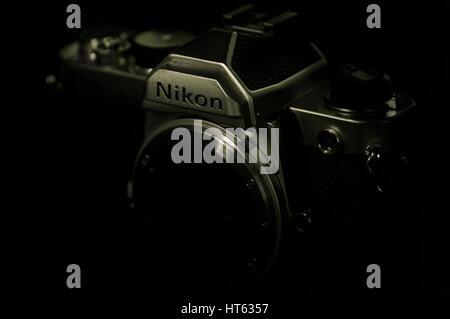 Nikon FM 35mm SLR camera body - Stock Photo