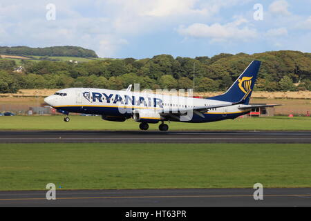 EI-EBR, a Boeing 737-8AS operated by Ryanair, at Prestwick International Airport in Ayrshire. - Stock Photo