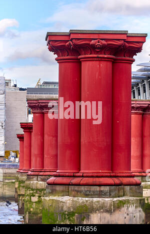Blackfriars Bridge is a road and foot traffic bridge over the River Thames in London - Stock Photo