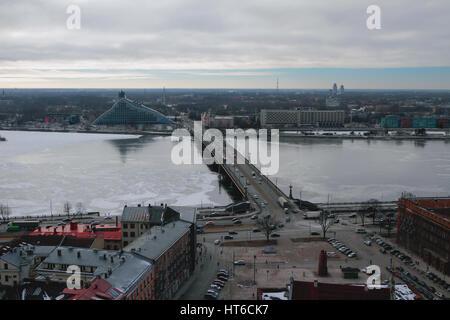 City, river and bridge. Riga, Latvia - Stock Photo