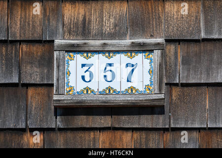 tiled plates with a house number, 357 - Stock Photo