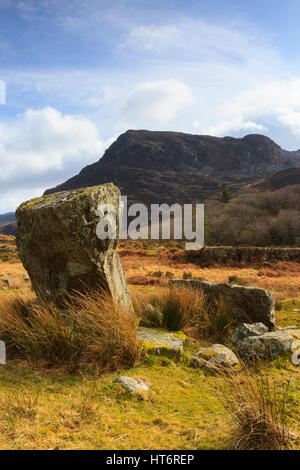 The Rhinogydd or Rhinog mountain range east of Harlech in North Wales with glacial erratic boulders deposited during - Stock Photo