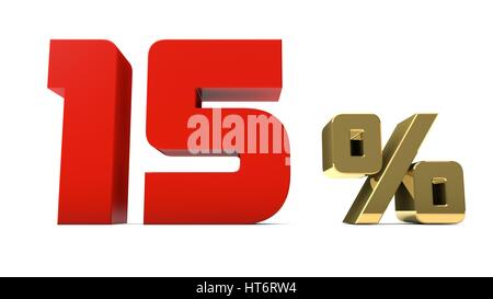 15% percent red and gold text isolated on white 3d render - Stock Photo
