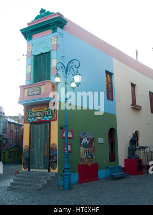 Colorful houses in Caminito, La Boca neighborhood, Buenos Aires Argentina. - Stock Photo
