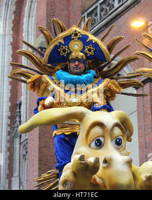 AALST, BELGIUM, FEBRUARY 26 2017: Unknown male dancer during the annual carnival parade in Aalst, East Flanders. - Stock Photo