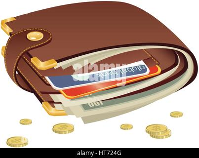 A close up detail illustration of a leather wallet containing cash and cards. - Stock Photo