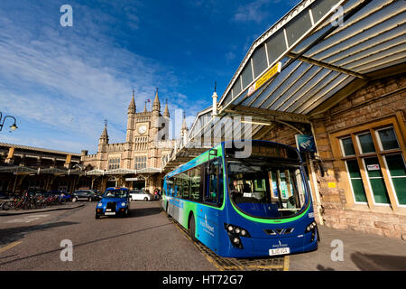 BRISTOL, UK - March 14, 2011: Exterior of Bristol Temple Meads Railway Station with a stationary Bristol Airport - Stock Photo