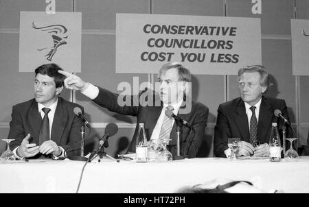 A Conservative party press conference on Local Government in London, England on April 10, 1991 with L-R Michael - Stock Photo