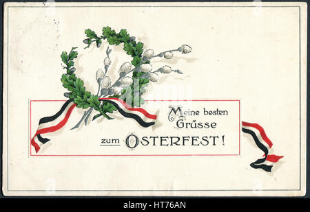 GERMANY - CIRCA 1915: A postcard printed in Germany, shows a wreath of oak and willow branches. The inscription - Stock Photo