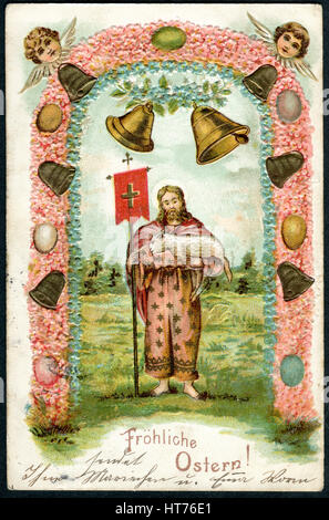 GERMANY - CIRCA 1909: A postcard printed in Germany, shows a biblical story. The inscription in German: Happy Easter, - Stock Photo