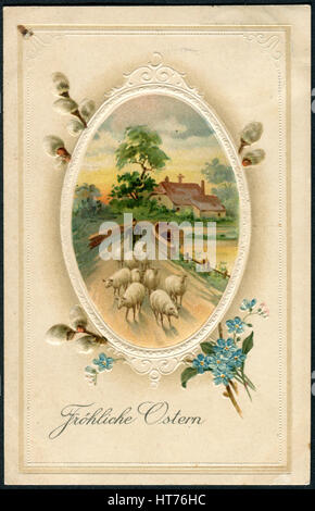 A postcard printed in Germany, shows the rural landscape and the shepherd. Beautiful frame with flowers. The inscription - Stock Photo