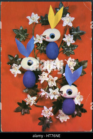 GERMANY - CIRCA 1969: A postcard printed in Germany, depicting the Easter theme, circa 1969 - Stock Photo