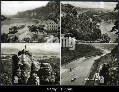 GERMANY - CIRCA 1969: A postcard printed in Germany, depicts the sights and natural views of the Saxon Switzerland, - Stock Photo