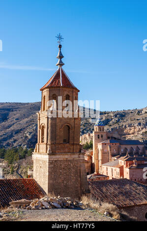 Beautiful view of the medieval town Albarracin with its churches during sunrise. Albarracin is located in the province - Stock Photo