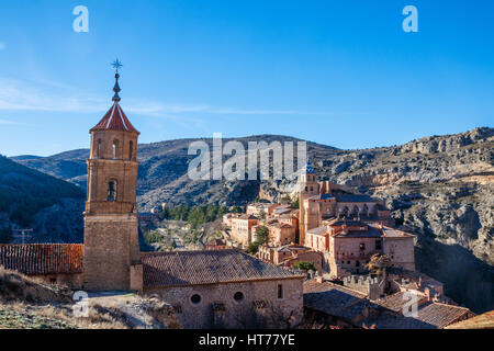 Beautiful view of the medieval town Albarracin with its churches and castle during sunrise. Albarracin is located - Stock Photo