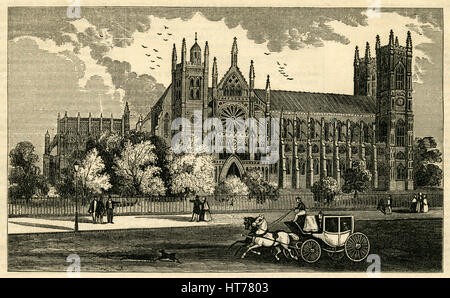 Antique 1854 engraving, 'View of Westminster Abbey in London.' SOURCE: ORIGINAL ENGRAVING. - Stock Photo
