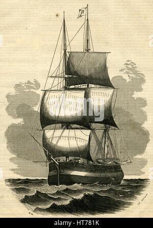Antique 1854 engraving, 'Ship Maria, of New Bedford, the Oldest Ship in the United States.' She was built at the - Stock Photo