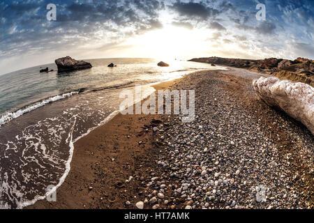 Seascape near Petra tou Romiou, also known as Aphrodite's Rock. Paphos District, Cyprus. - Stock Photo