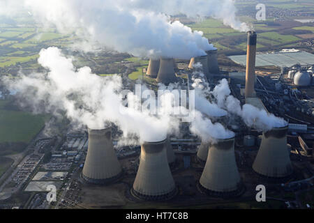 aerial view of Drax Power Station in Yorkshire, UK - Stock Photo