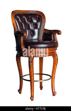 Vintage brown wooden bar chair isolated on white background - Stock Photo