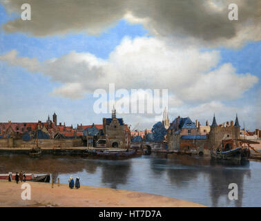 View of Delft, by Johannes Vermeer, circa 1660-1, Royal Art Gallery, Mauritshuis Museum, The Hague, Netherlands, - Stock Photo