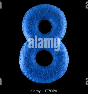 Number 8. Hand made number Eight from blue felt. Set of numbers from colorful felt isolated on black background - Stock Photo
