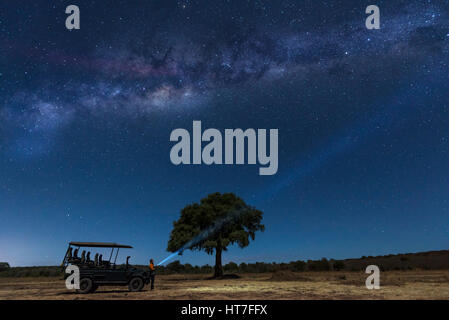 A lone stargazer watched the stars in Africa - Stock Photo