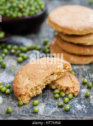 Mung bean cookies, healthy vegan dessert. - Stock Photo