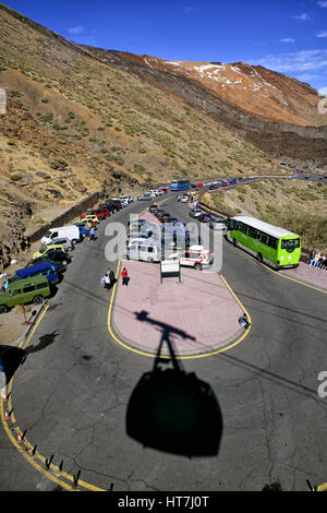 Shadow Of The Cable Car On The Road At Teide National Park, Tenerife - Stock Photo