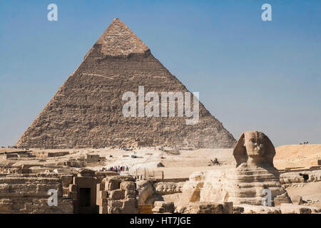 Great Pyramid Of Giza And Sphinx In Egypt - Stock Photo